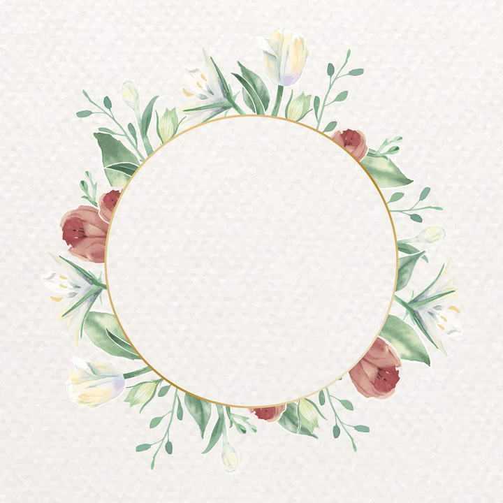 水彩画风格彩色花卉绿叶装饰的圆形文本框标题框图片免抠素材