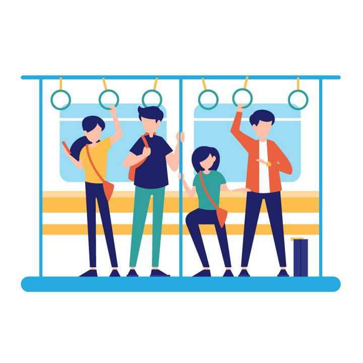 彩色扁平化插画风格坐地铁的年轻人图片免抠素材