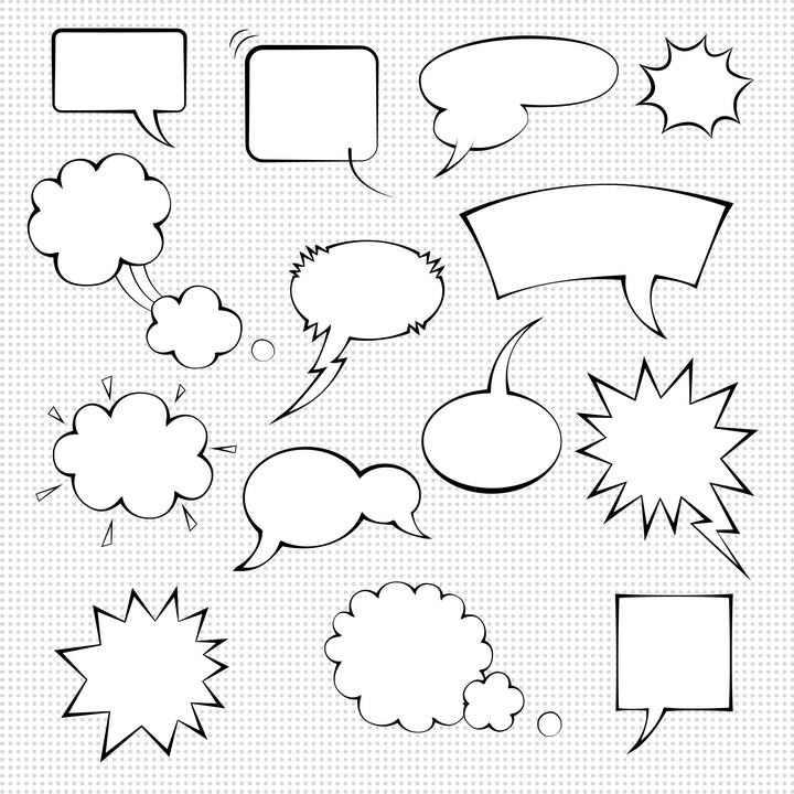 14款手绘线条风格的爆炸贴气泡爆炸对话框图片免抠素材