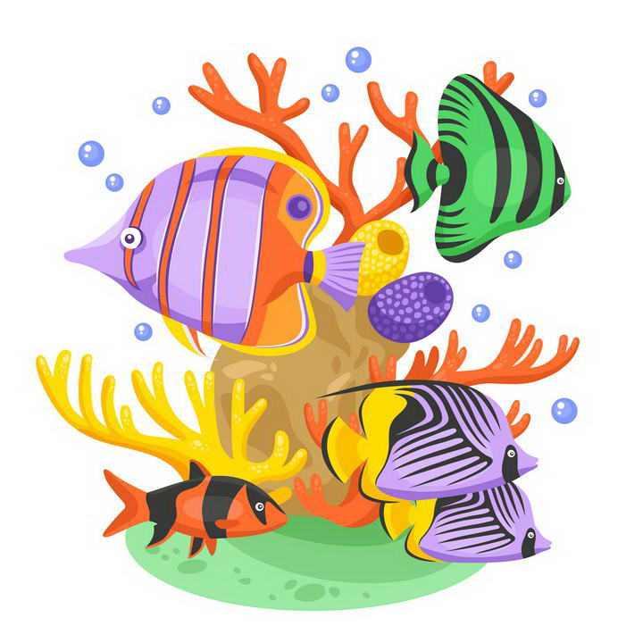 手绘风格珊瑚礁和各种海鱼水族箱图片免扣素材