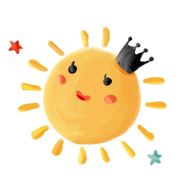 卡通可爱手绘风格带着皇冠的太阳图片免抠素材