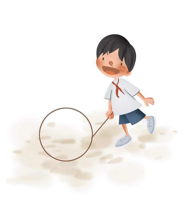 手绘卡通正在玩滚铁环的小孩童年回忆儿童游戏图片免抠素材