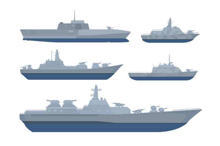 5款护卫舰导弹艇等战舰军舰侧视图图片免抠素材