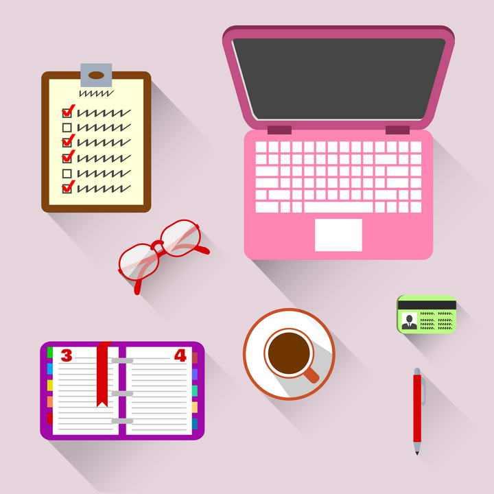 粉色风格的笔记本电脑眼镜记事本等女性办公用品图片免抠素材