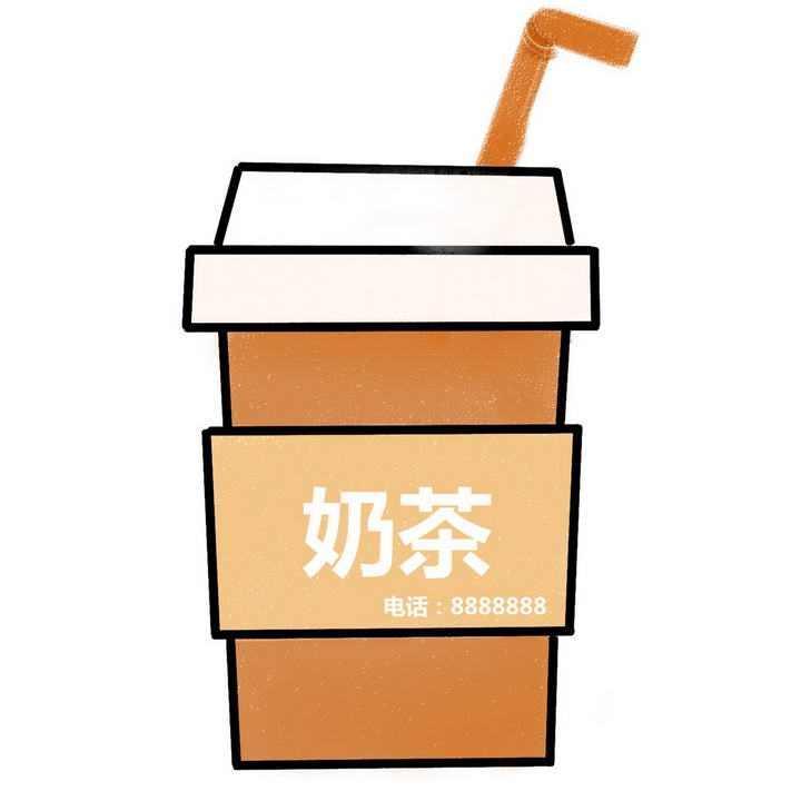 简洁线条奶茶饮料图片免抠素材