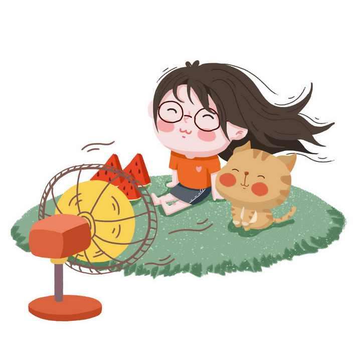 手绘卡通风格炎炎夏日里正在吹电风扇的小朋友和猫咪图片免抠素材