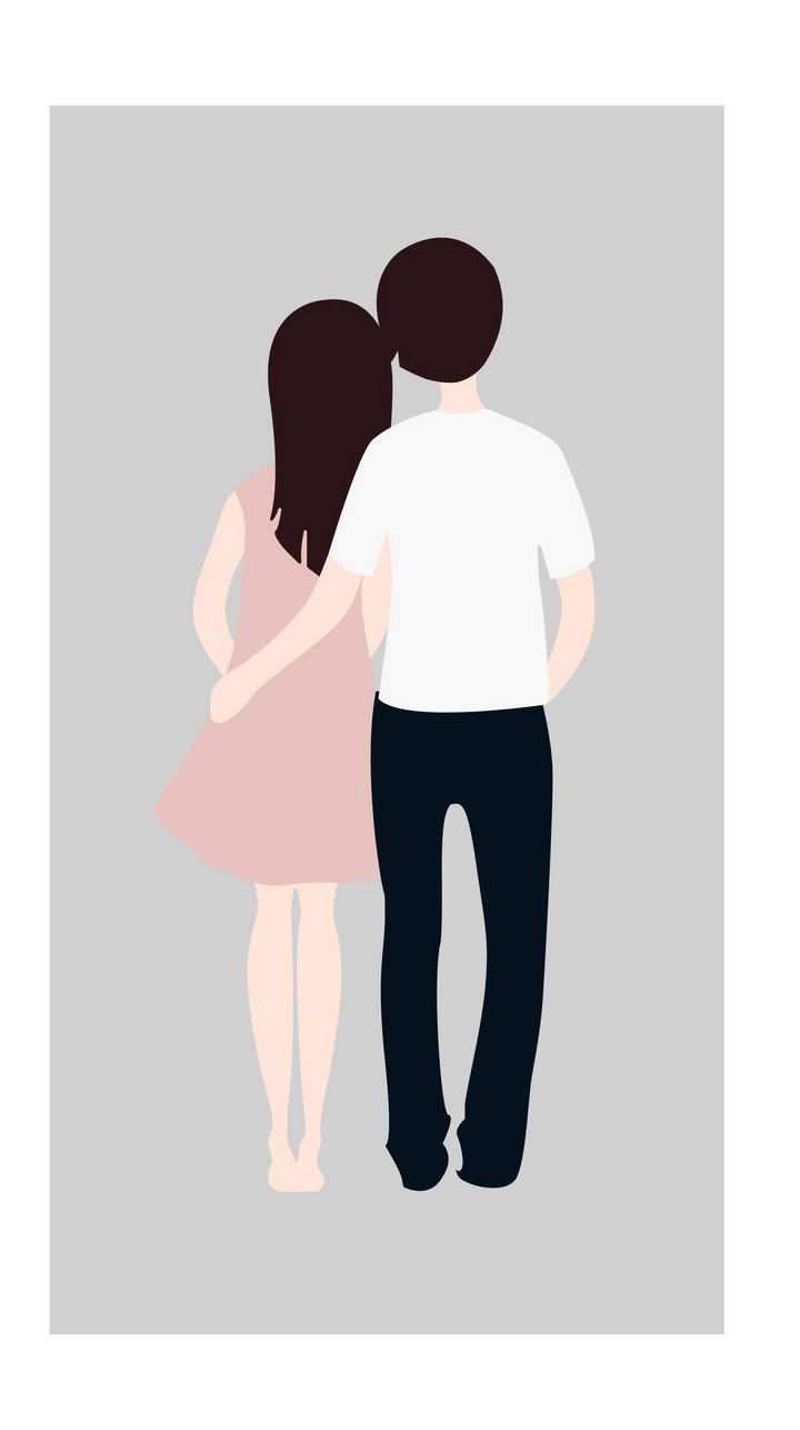 简约手绘风格拥抱依偎在一起的情侣背影图片免抠素材