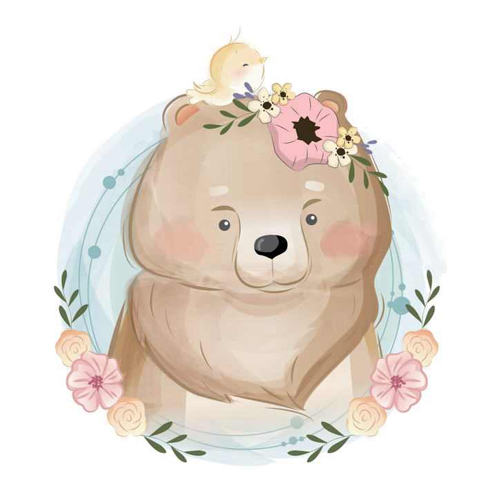可爱彩色手绘插画风格卡通小熊图片免抠素材