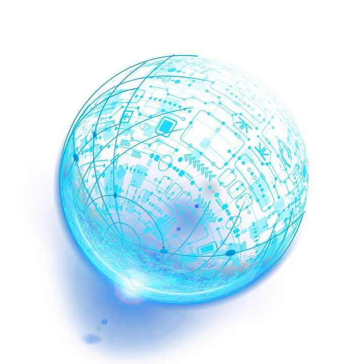 蓝色科幻风格各种怪异线条组成的圆球图案图片免抠素材