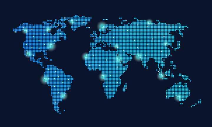 蓝色光点组成的马赛克世界地图图片免扣素材
