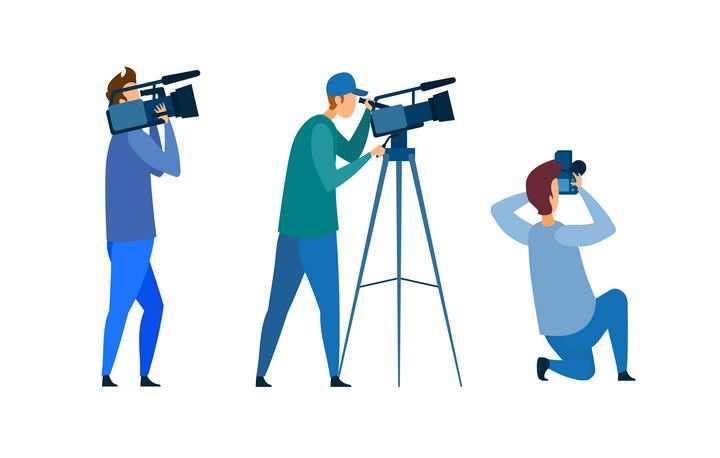 三款扁平插画风格扛着摄像机正在拍摄的记者图片免抠素材