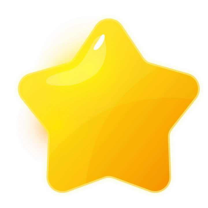 唯美风格橙色立体可爱五角星小星星图片免抠素材