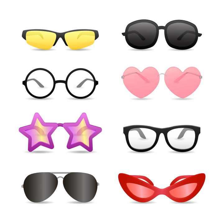 8款各种不同风格的时尚眼镜图片免抠素材