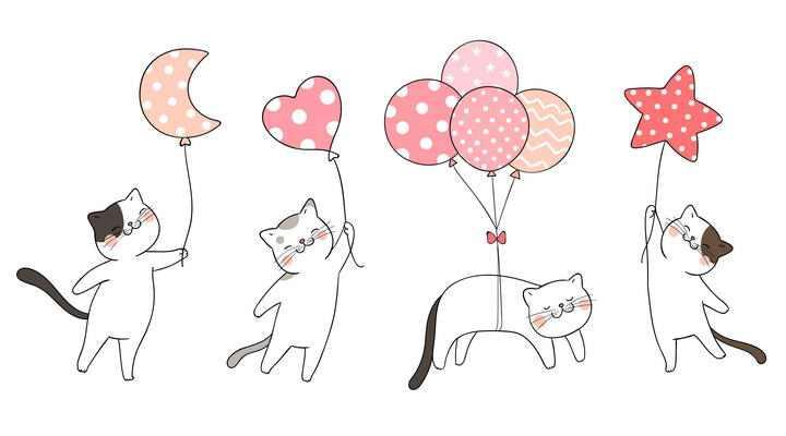 四种手绘风格拿着气球的卡通猫咪图片免抠素材