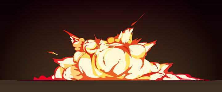 手绘漫画风格地面上的爆炸效果图片免扣素材