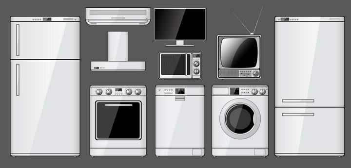 各种白色家电洗衣机冰箱电视机图片免扣素材