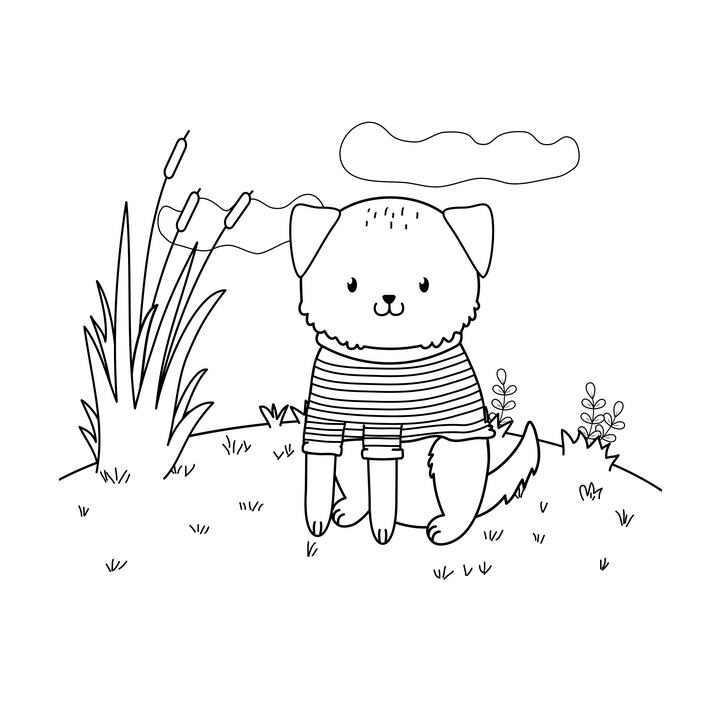 手绘风格穿着衣服坐在地上的宠物狗简笔画图片免抠素材