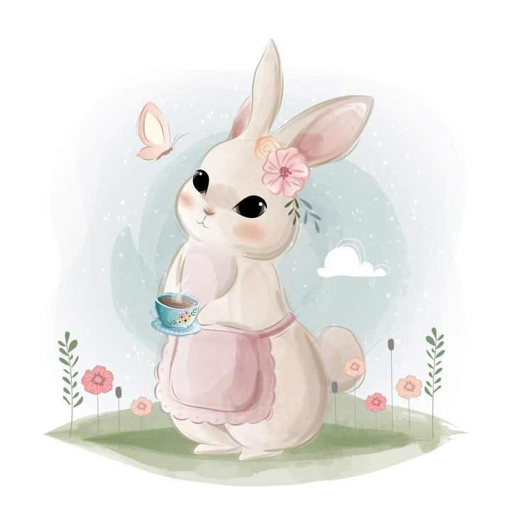 可爱彩色手绘插画风格卡通小兔子图片免抠素材