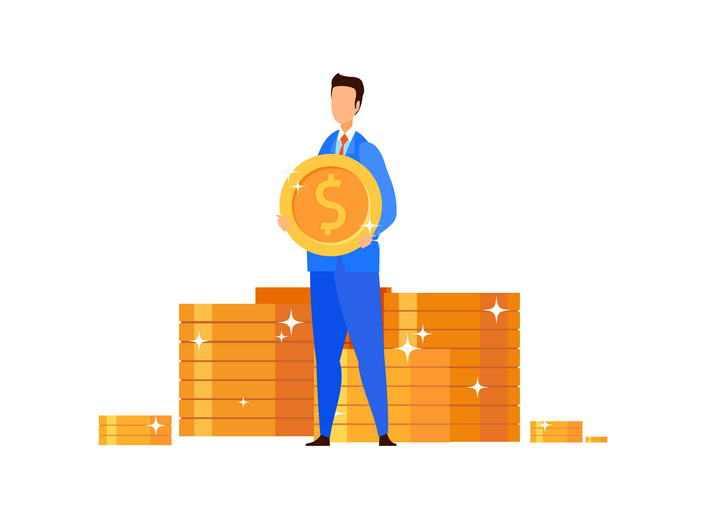 扁平插画风格捧着一个金币的商务人士金融理财类设计素材