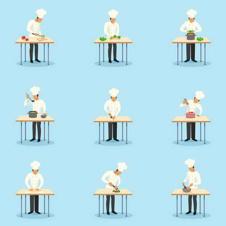 9款手绘风格正在操作台上做菜的厨师图片免扣素材