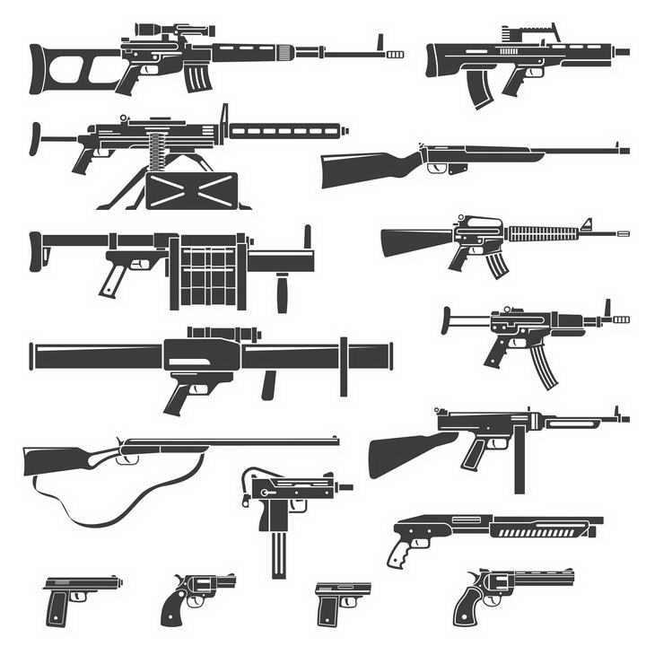 16款各种黑白色的步枪手枪机枪等轻武器侧影图片免扣素材