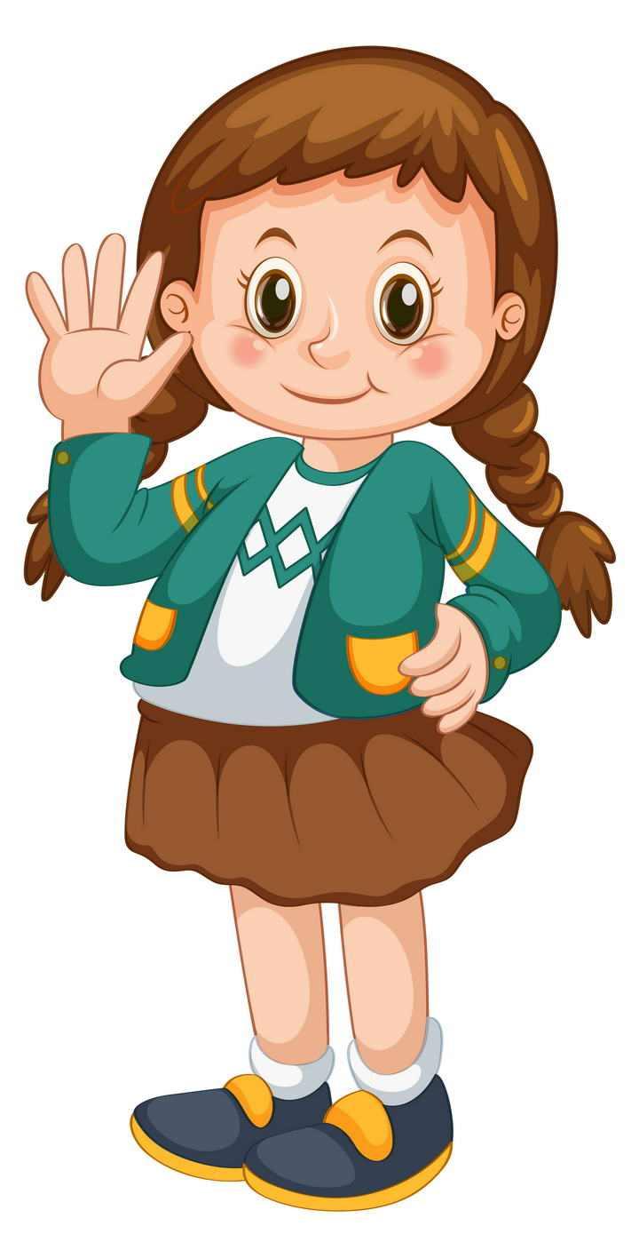 正在跟你挥手的卡通女孩女学生图片免抠素材