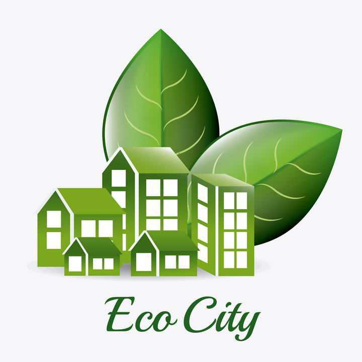 绿叶和绿色的房子生态城市图片免抠素材