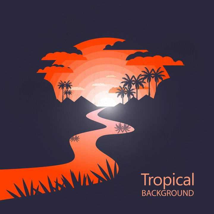 红色热带河流大山夕阳风景椰子树剪影图片免抠素材