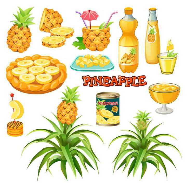 各种手绘菠萝水果果汁罐头美食图片免抠素材