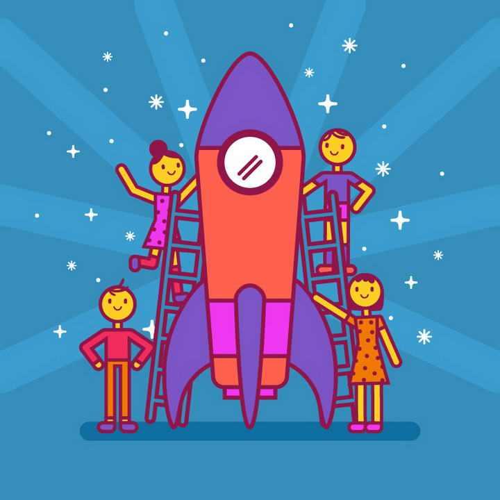 手绘插画卡通风格建造火箭图片免抠素材