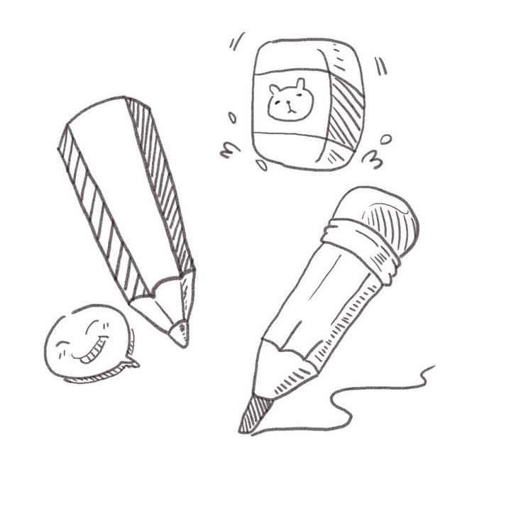 手绘线条素描风格铅笔橡皮简笔画图片免抠素材