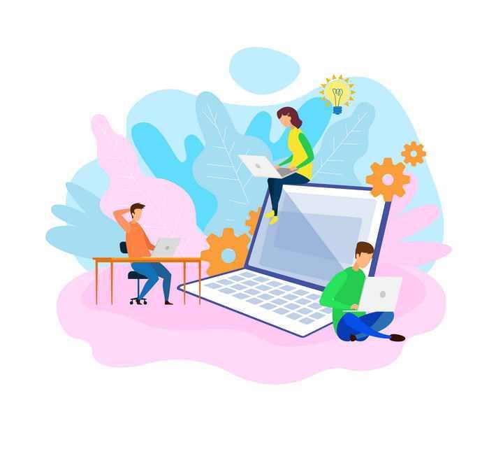 扁平插画风格坐在笔记本电脑上工作的三个年轻人商务图片免抠素材