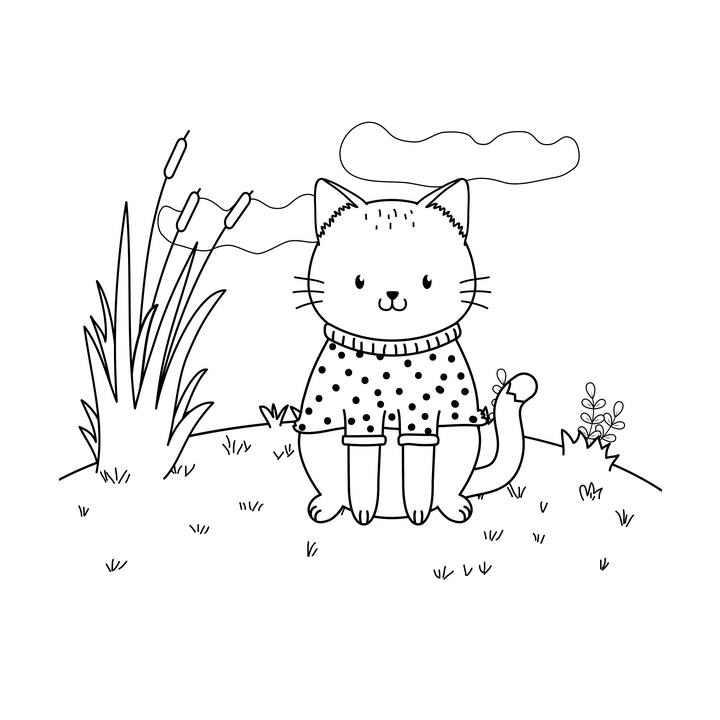 手绘风格穿着衣服坐在地上的宠物猫猫咪简笔画图片免抠素材