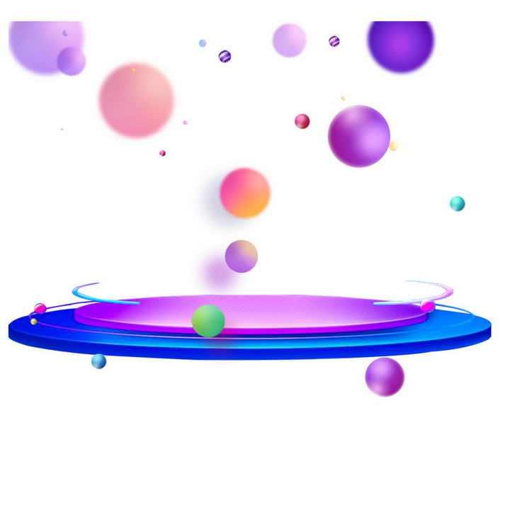 流体渐变装饰球和渐变色淘宝天猫电商产品展台图片免抠素材