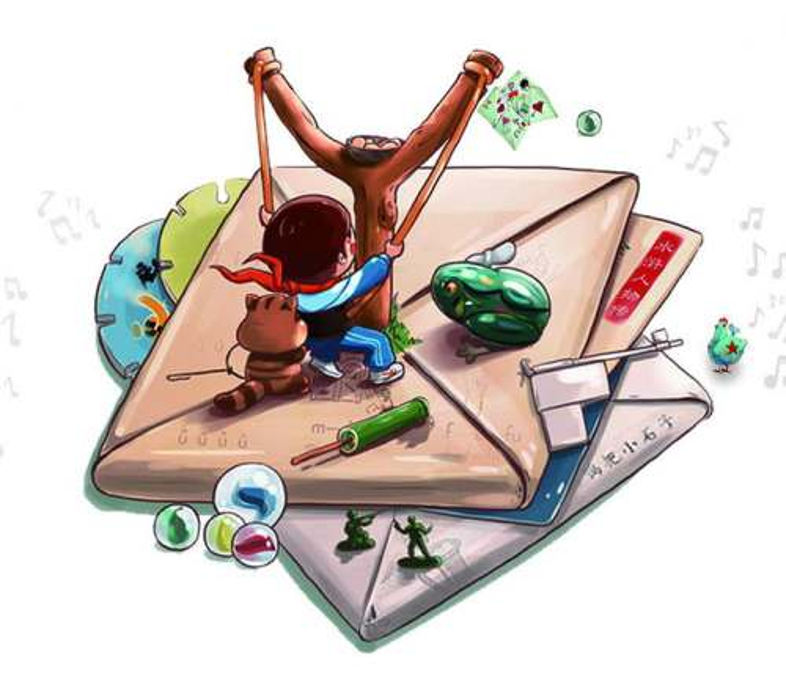 手绘卡通童年回忆儿童游戏打纸包弹弓玻璃珠玻璃球图片免抠素材