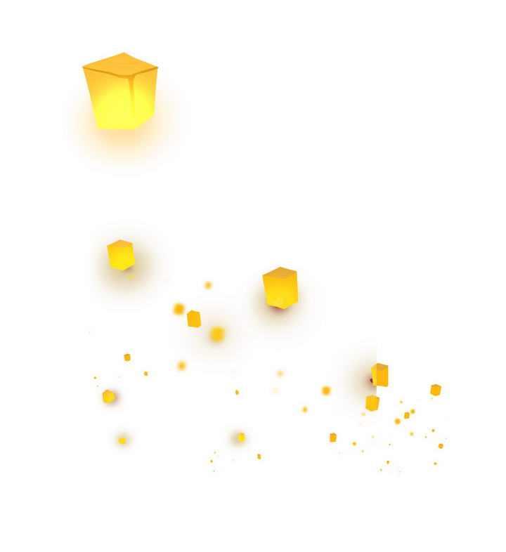 黄色的孔明灯天灯许愿灯装饰图片免扣素材
