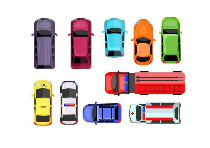 各类俯视视角的汽车图片免抠素材
