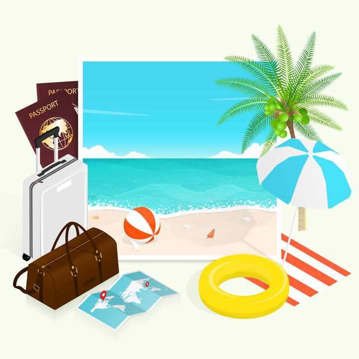 夏天热带海岛海边旅游元素装饰图片免抠素材