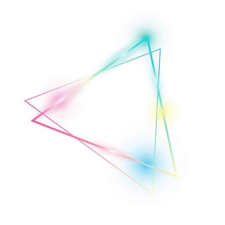 彩色发光三角形装饰图案图片免扣素材