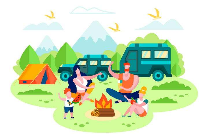 扁平插画风格野外旅游一家四口野营露营图片免抠素材