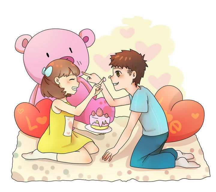 手绘可爱风格在玩耍的情侣情人节图片免抠素材