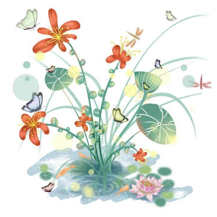 唯美风格光斑效果花卉蝴蝶绿叶植物图片免抠素材