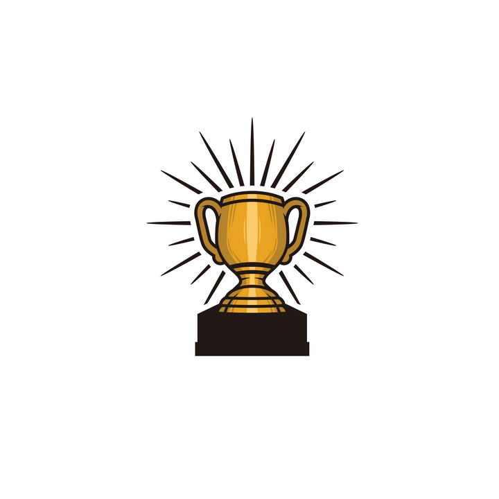 手绘插画风格发光的金杯奖杯图片免扣素材