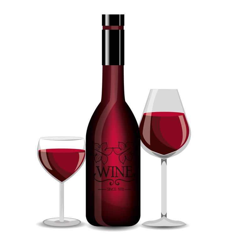 两个透明高脚杯酒杯和葡萄酒红酒酒瓶图片免抠素材