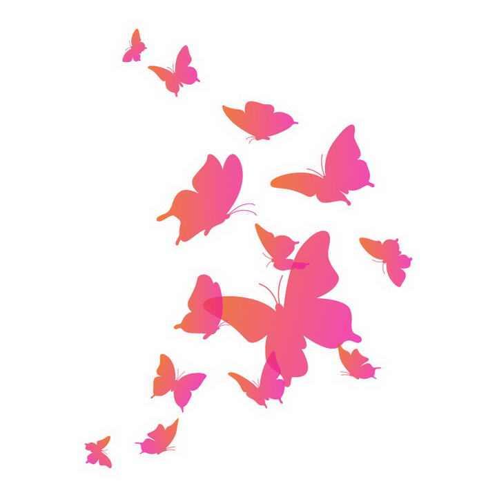 一群粉色蝴蝶剪影装饰图案免抠矢量图片素材