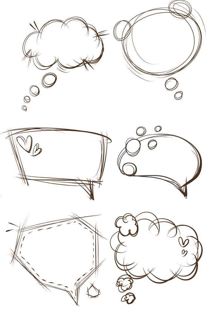 6款手绘线条素描风格对话框文本框图片免抠素材