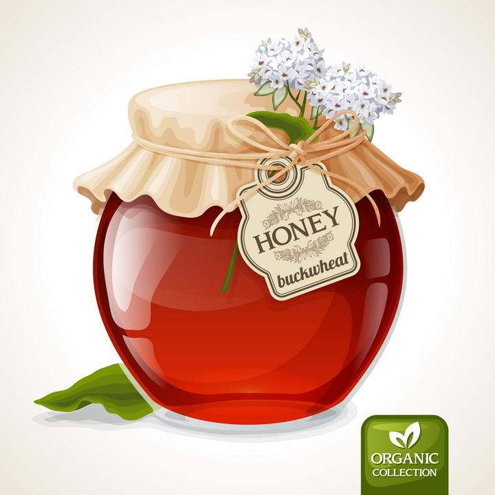 逼真的密封好的深色蜂蜜罐美食免抠矢量图片素材