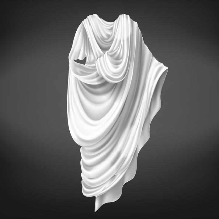 白色西方古典长袍衣服图片免抠素材