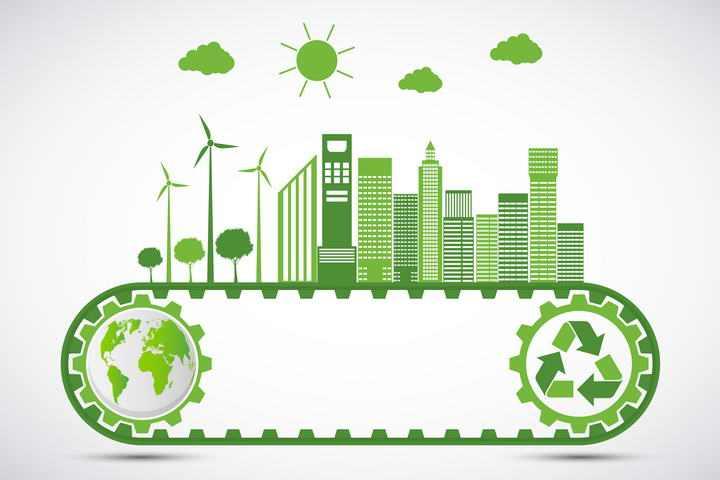 创意绿色齿轮带上的风力发电和城市绿色环保主题图片免抠素材