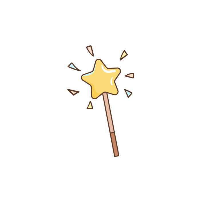 手绘卡通风格五角星星星仙女棒图片免抠素材